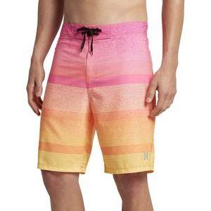 "HURLEY Phantom 20"" Board Shorts Swim Pink Orange Yellow Stripe Spray Men 34"